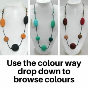 Necklace Woven Scoobie wire beads strung on Leather - Multi Colour Way