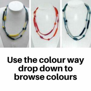Necklace Scoobie Wire Coiled Long - Multi Colour Way